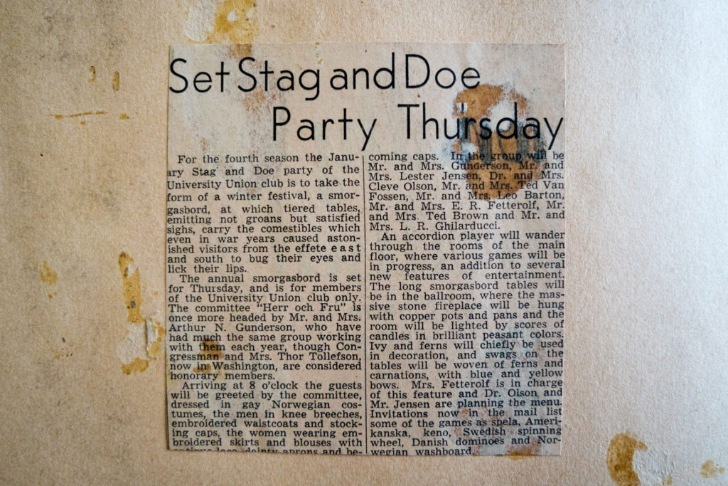 Photo of University Union Club Stag and Doe party 1947 Newspaper Clipping